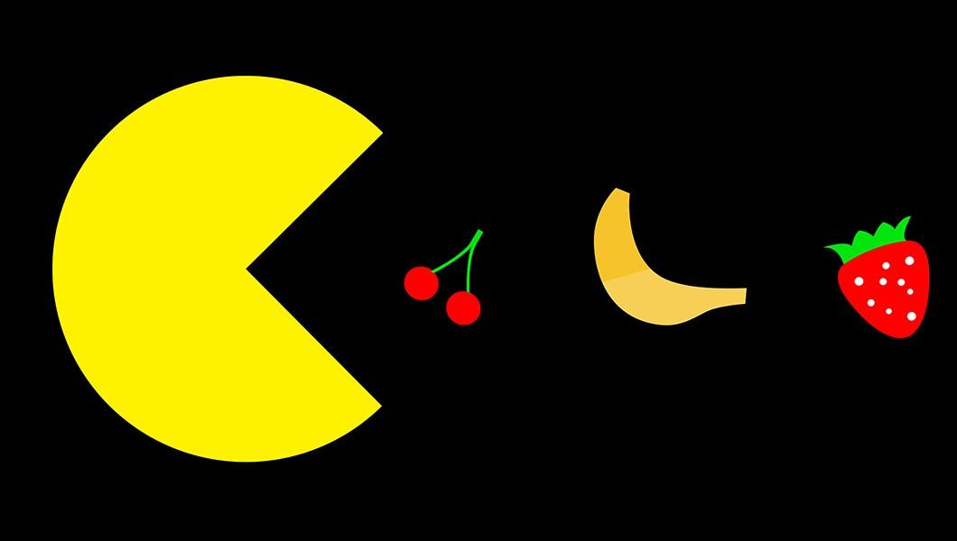 Pacman eating fruit