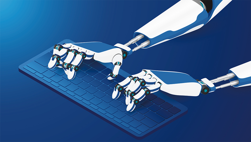 Robot hands typing on a keyboard